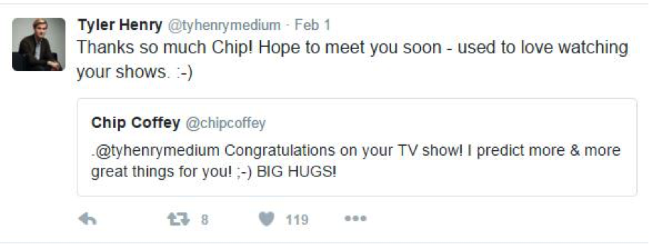 Tweet from Tyler Henry to Chip Coffey