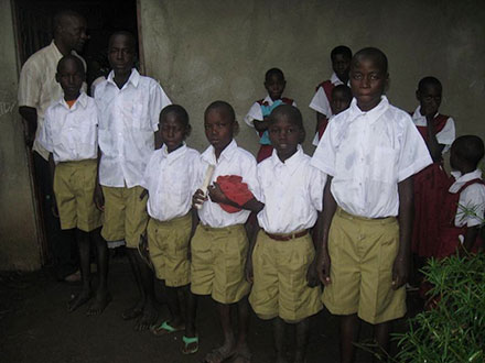 The male pupils in their new uniforms