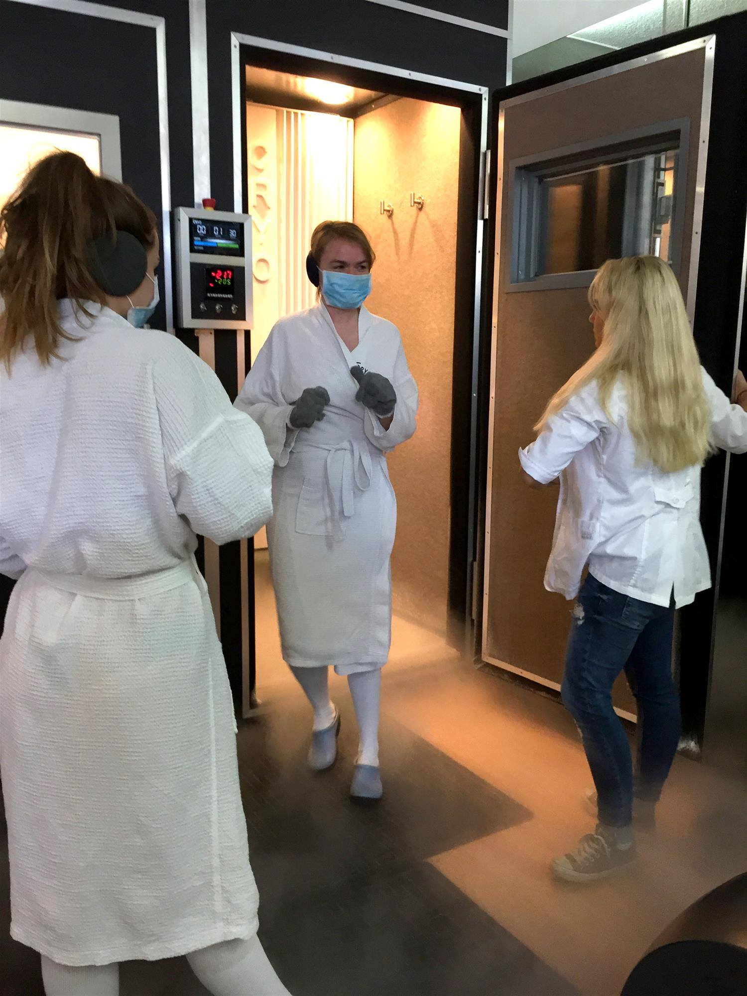 Exiting the Cryotherapy Chamber