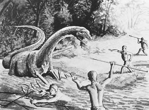 artwork of men and dinosaur
