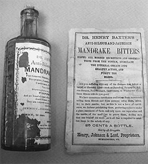 Bottle and advertisement