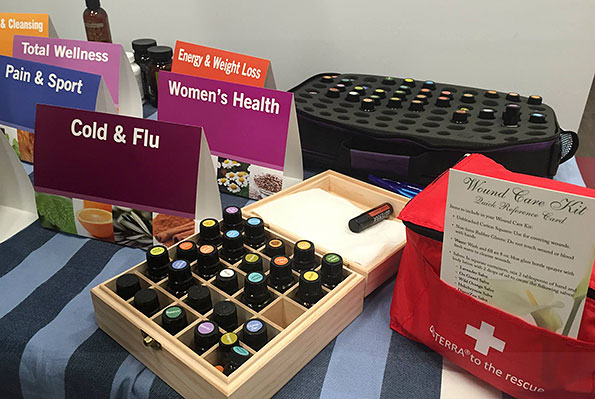 Essential oils display: cold and flu, women's health, oil containers