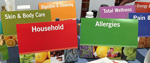 Essential oils display: skin and body care, household, allergies, digestive and cleansing, total wellness, energy, pain