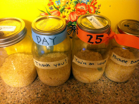jars of rice on day twenty-five