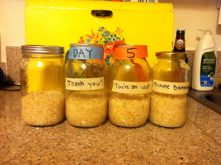 jars of rice on day five