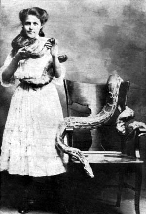 Figure 2. Pitch card of a sideshow snake charmer (author's collection) (click for larger view)
