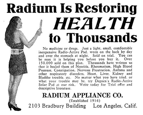 old advertisement: Radium Is Restoring HEALTH to Thousands