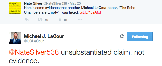 Nate Silver links to evidence of another LaCour paper being faked; LaCour calls it an unsubstantiated claim