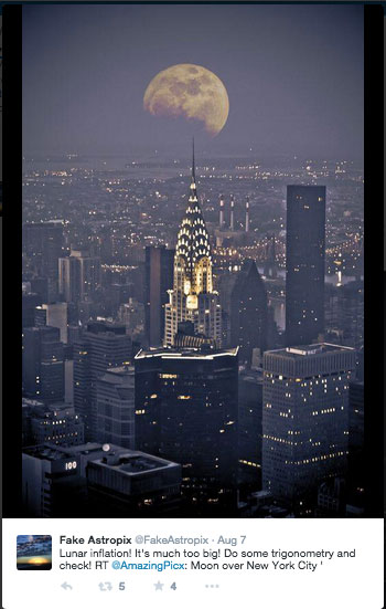 screenshot of @FakeAstropix showing very large moon over New York City. Tweet: Lunar Inflation! It's much too big! Do some trigonometry and check!