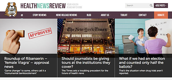 screenshot of Health News Review showing navigation and featured stories